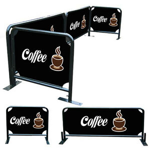 Details about Cafe Barrier Set/ Store Front Barriers Set 2x2m plus 2x1m  Round Tube Frame