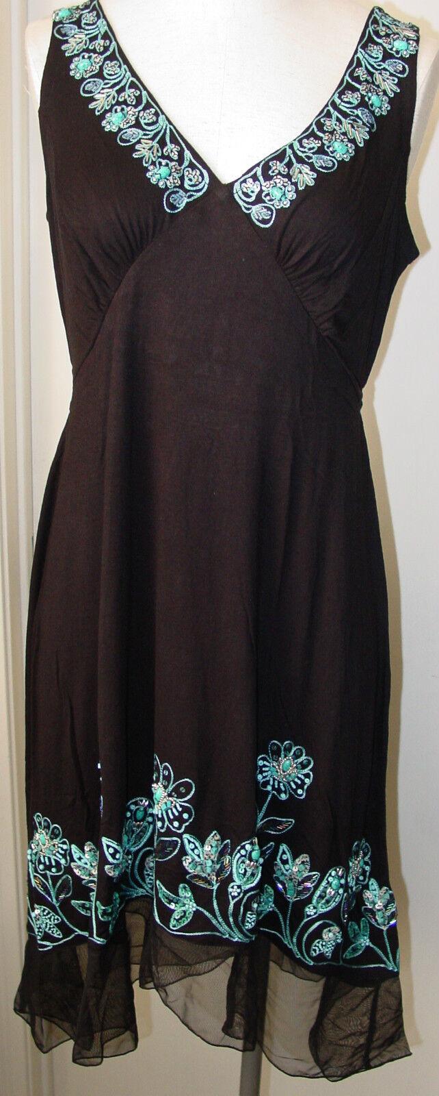 Femme Robe Noir Turquoise sans hommeches Réservoir Krista Lee MONTEGO BAY broderie