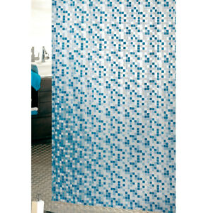 Tenda-doccia-ANTIMUFFA-mosaico-vinile-impermeabile-3-misure-anelli-inclusi-PVC