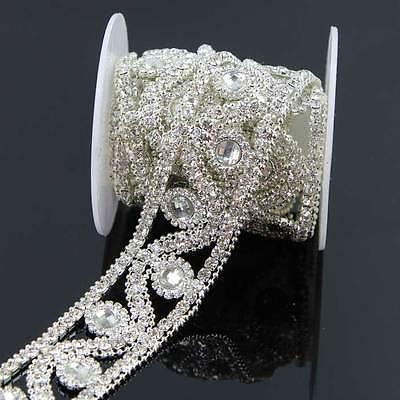 1 Yd Clear / AB Rhinestone Crystal Chain Gold/ Silver Trim Applique resin Sew On