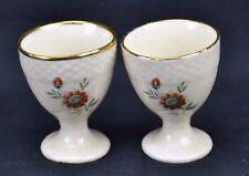 Royal Copenhagen Set of 2 Egg Cups Gold Trim Flowers