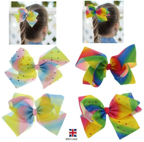 Kids Large Bow Hair Clips Rainbow Ribbon Alligator Clip Girls Accessories GiftUK