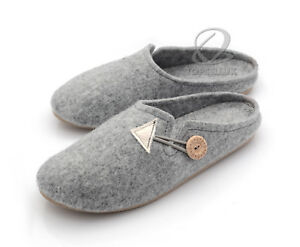 cb17f4195b315 Details about NEW Handmade Women Felt Slippers Home Shoes Scuffs Gray UK  Size 4 5 6 6.5 7