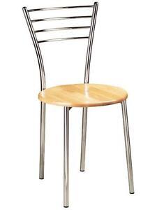 Silla cocina restaurante bar de acero cromado asiento de haya madera ...