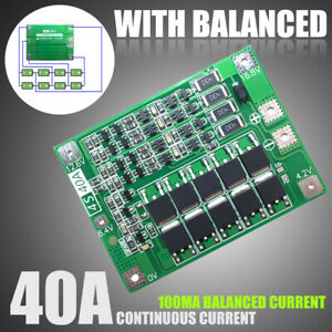 3//4S 40A 18650 Lithium Battery Charger BMS Protection Charging Board W// Balanced