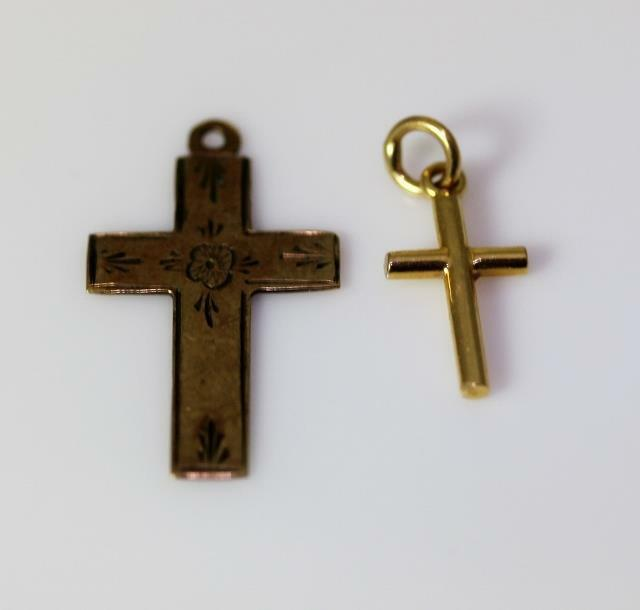 "9ct gold Vintage Flower Cross & 14K Yellow gold Cross Pendants 1"" -.5"" - 8969"