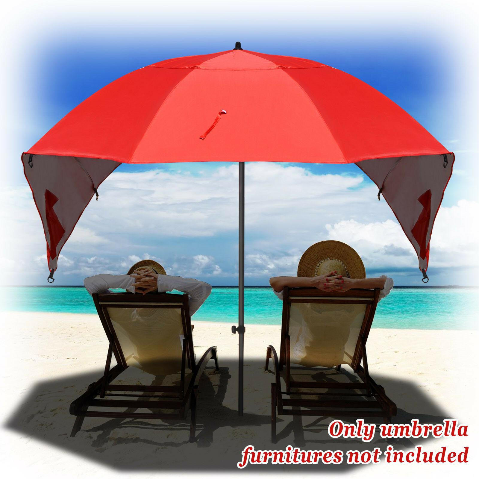Red Portable Sun and Weather umbrella Shelter Sport or Beach Canopy Tent 8 Foot