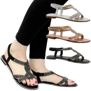 Ladies-Womens-Flat-Party-Comfy-Open-Toe-Beach-Diamante-Summer-Sandals-Shoes-Size