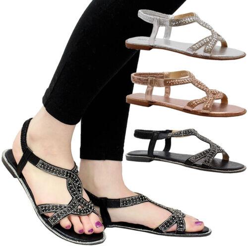 Ladies Womens Flat Party Comfy Open Toe Beach Diamante Summer Sandals Shoes Size