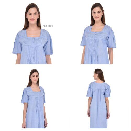 Blue Chambray Short Sleeves Lace /& Pintuck NightdressCotton Lane