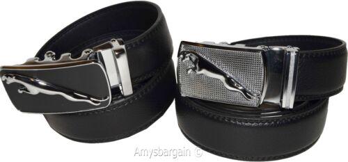 jaguar men/'s black leather belt dress belt auto lock buckle men/'s black belt bn