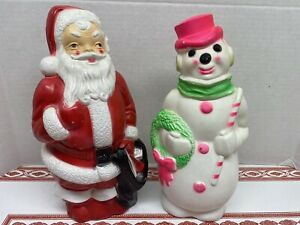 Vintage-1968-Empire-Christmas-Blow-Molds-Santa-Claus-And-Pink-Snowman-13