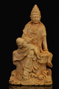 Chinese-Box-wood-Hand-Carving-Buddhism-Kwan-yin-Boddhisattva-Guan-Yin-Statue