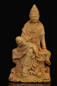 Chinese Box-wood Hand Carving Buddhism Kwan-yin Boddhisattva Guan Yin Statue持经观音
