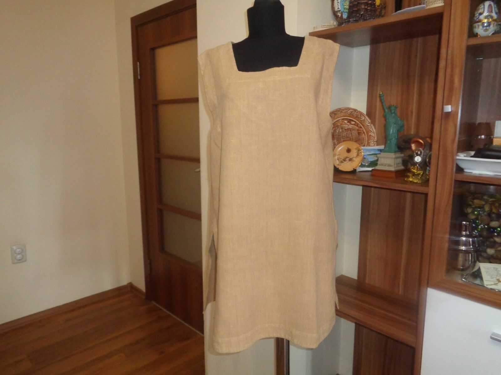 OSKA HEAVY LINEN CAMEL COLOUR ENZYME WASHED STRAPPY TANK TUNIC-SIZE II