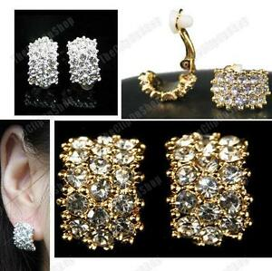 CLIP-ON-big-huggie-CRYSTAL-EARRINGS-rhinestone-SILVER-GOLD-PLATED-diamante-clips