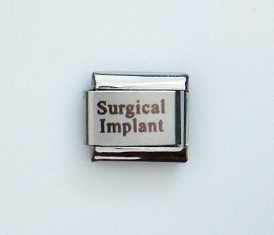 Surgical Implant Laser Medical Alert for Italian Charm Bracelets Free ID Card