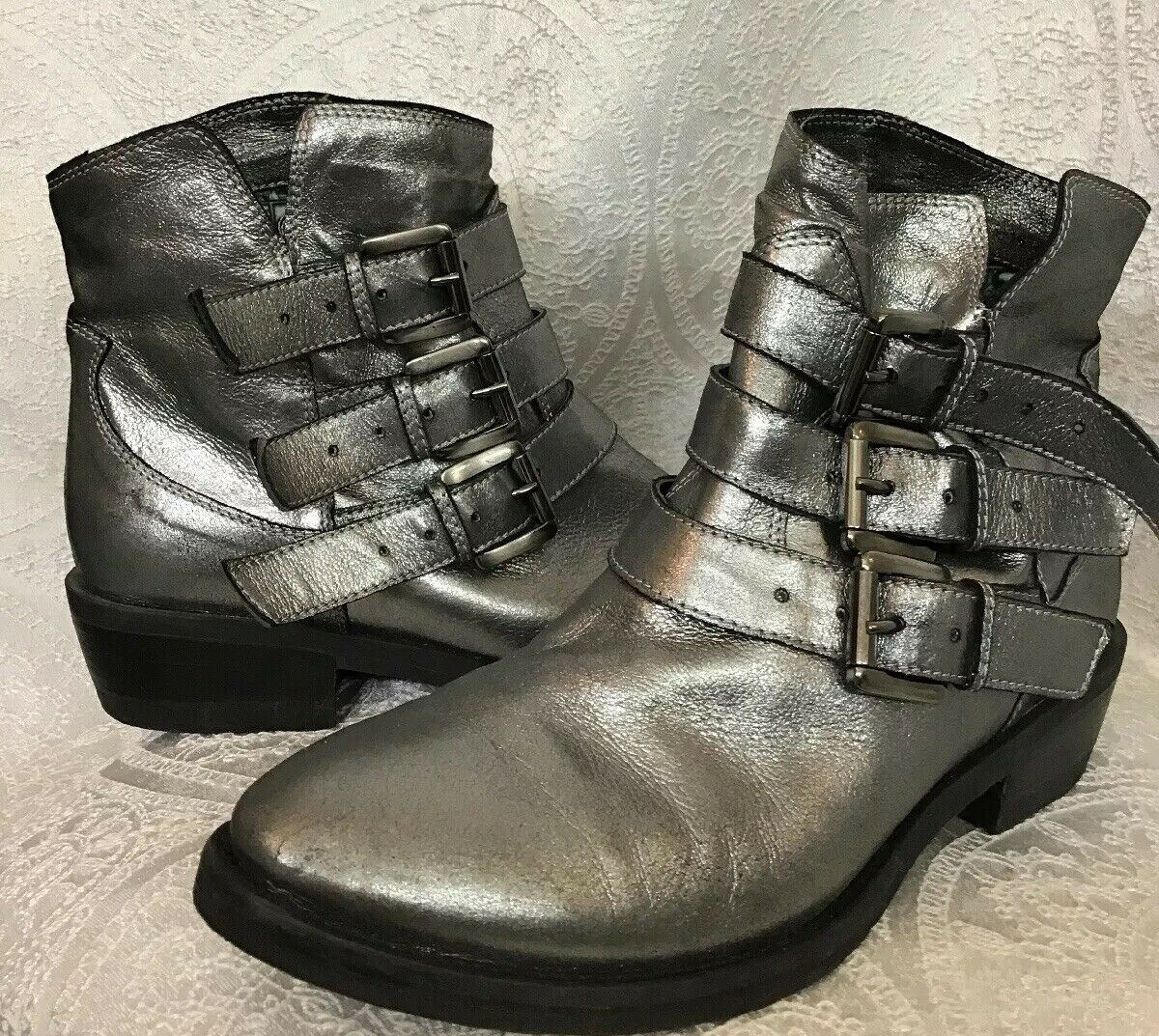Crown Project Quality Ankle boot Silver Metallic  Leather 3 buckles size 37