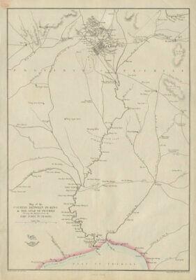 Weller 1863 Map Country Between Peking & The Gulf Of Pechili China Taku Forts