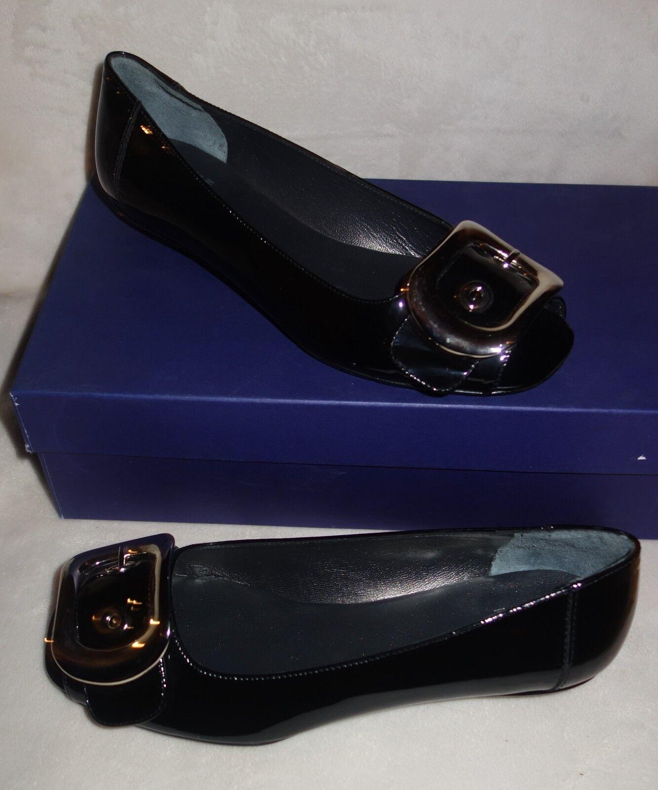 Stuart Weitzman Black Patent Young Buck Peep Toe Flats - sz 36.5 US SZ 6  new