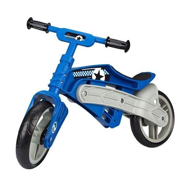 NEUHEIT Kinder LAUFRAD sehr leichter Kunststoffrahmen EVA Reifen 24cm -blau/grau