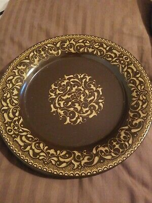 On Sale Franciscan Jamoca Brown and Gold Pattern 10.75 inch Serving Plate ChopDinner Plate