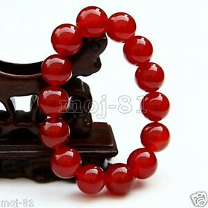 Natural-12mm-Dark-Red-Jade-Round-Gemstone-Beads-Stretchy-Bangle-Bracelet-7-5-039-039