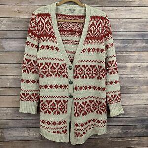 J-JILL-Red-Cotton-Blend-Cardigan-with-Pockets-Knit-Lounge-Sweater-Sz-M