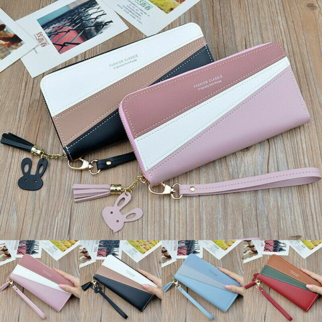 Women PU Leather Long Wallet Handbag Purse Bag Card Phone Holder Large Capacity