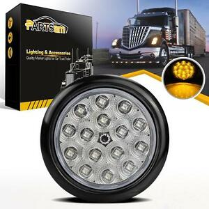 """Submersible 4"""" Round Yellow/Amber 15 LED Stop Signal Turn Tail Light Clear Lens"""