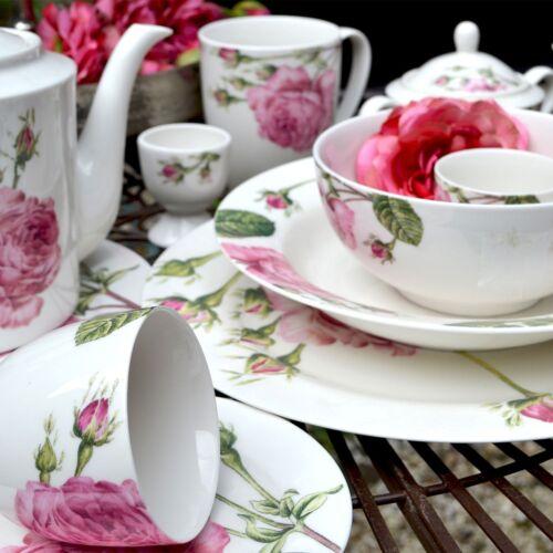 Geschirr engl Rose Porzellan Tasse Teller Müslischale Becher Kanne Shabby