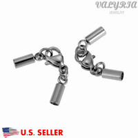 Stainless Steel Necklace Chain Cord Ends Caps Sets Jewelry Diy Finding 9x2mm