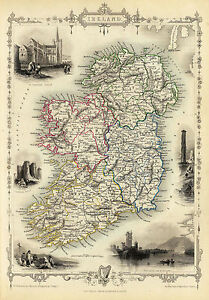 Map Of Ireland Historical Sites.Details About 1851 Map Ireland Famous Sites Irish Harp Clover Wall Art Poster Vintage History