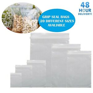 GRIP-SEAL-BAGS-Self-Resealable-Clear-Polythene-Poly-Plastic-Zip-Lock-All-Sizes