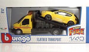 Bburago-31406-Car-Hauler-w-ALFA-MiTO-034-Yellow-034-METAL-1-43