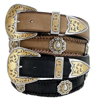 "Classic Western Brass Berry Concho Genuine Leather Belt 1-1//2/"" Wide The Auburn"