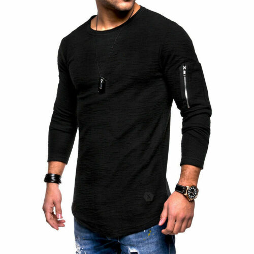 Mens Long Sleeve T Shirt Slim Fit Casual Blouse Tops Autumn Clothing Muscle Tee
