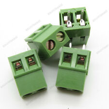 10 × PCB Screw Terminal Block 2 Pole 5mm Pin Pitch for 22-12AWG Wire 300V 10A
