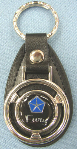 Vintage Black Plymouth FURY Mini Steering Wheel Black Leather Key Ring Key Fob