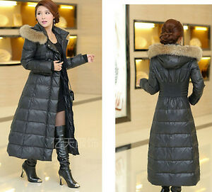 Womens Winter Full length New Plus Size Fur Collar Hooded Long