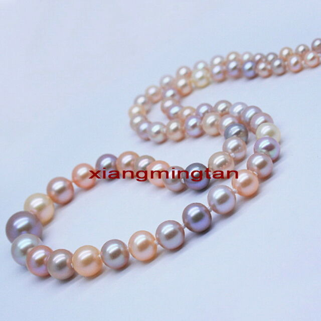 "long AAAAA 48""10-11mm South sea WHITE PINK PURPLE Multicolor pearl NECKLACE 14K"