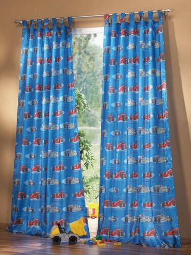Habitación de niño Gardine trabillas bufanda set car motivo azul cortina para jóvenes