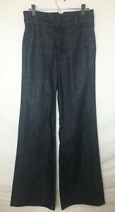7-For-All-Mankind-Women-039-s-High-Waist-Dark-Wash-Wide-Leg-Jeans-4-Pkt-Meas-29-034