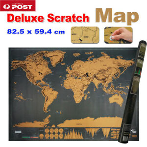 Deluxe Large Scratch Off World Map Personalized Travel Poster Travel Atlas Decor 714046611624
