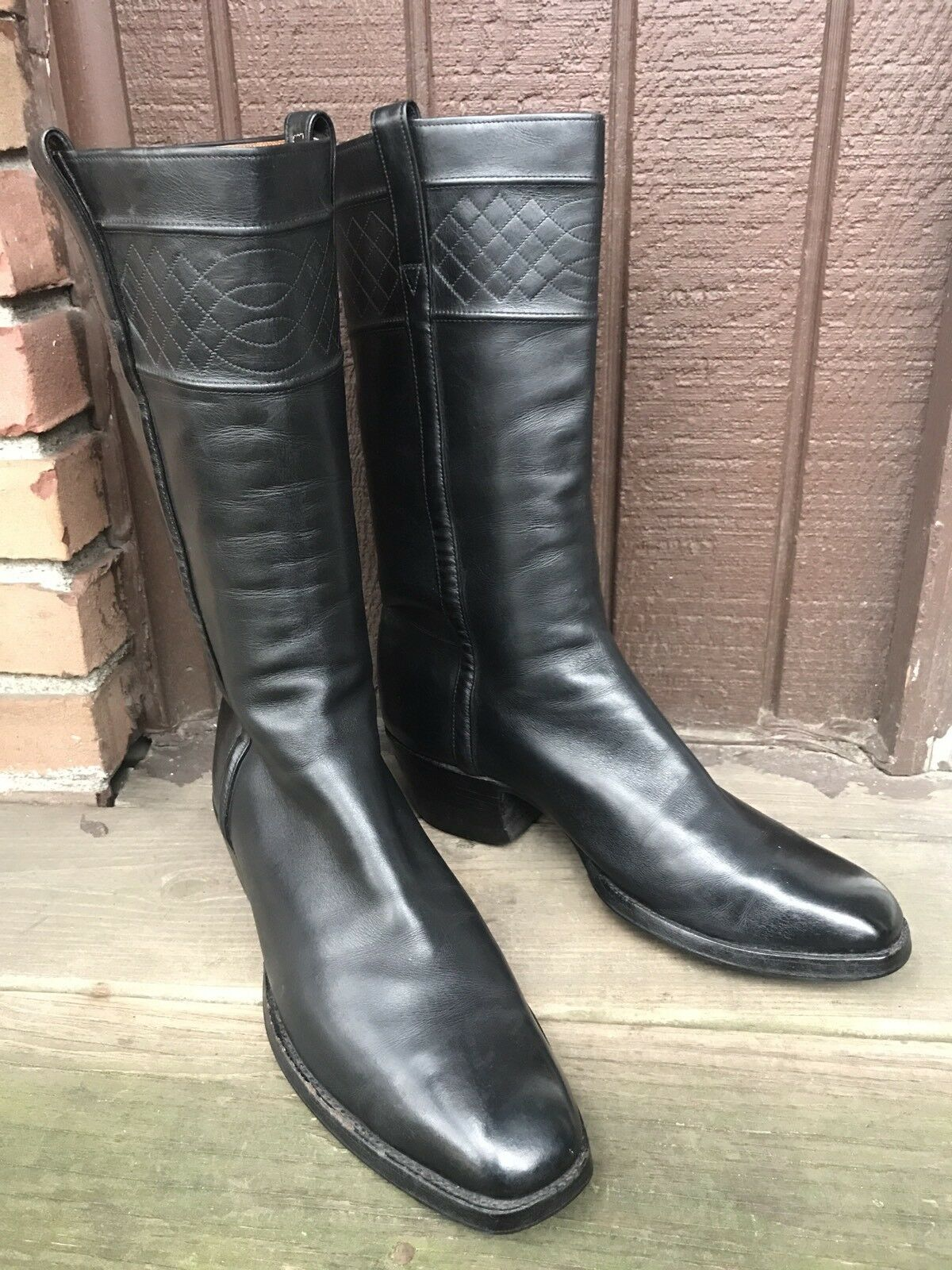 Unbranded Womens Size 9 Black Genuine Leather Knee High Western Riding Boots-400