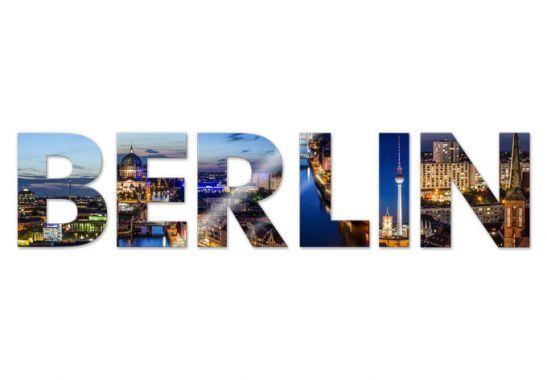 Wandbilder 3D DEKO BUCHSTABEN  BERLIN , 6 Buchstaben aus Acryl bunt Städte