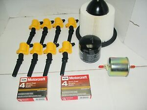 1997-1999 FORD F250 8 YELLOW Coil DG508+8 Plug SP479 & OIL ...