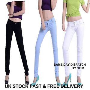 Womens-Ladies-Fashion-Mid-Waisted-White-Black-Skinny-Fit-Denim-Jeans-Vincenza-UK