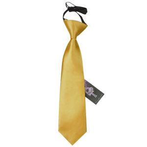 Gold-Boys-Elasticated-Tie-Satin-Plain-Solid-Pre-Tied-Necktie-by-DQT