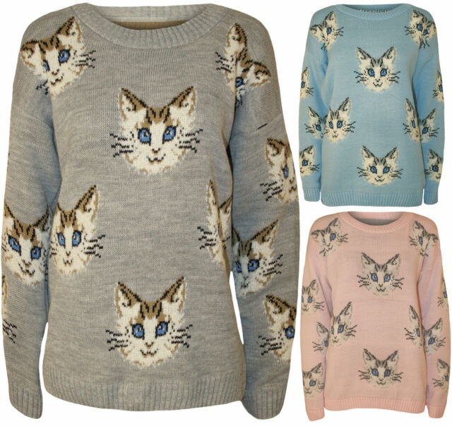bcf8389c63 Ladies Women s Cat Face Animal Print Long Sleeve Knitted Jumper Sweatshirt  Top